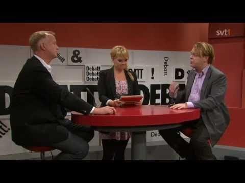 Rick Falkvinge (pp) debattar mot Johan Pehrson (fp) i SVT debatt