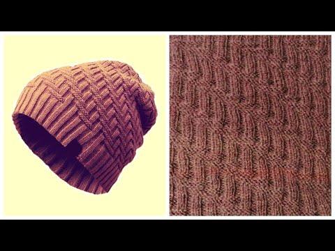 Шапка бини спицами схема вязания мужская шапка