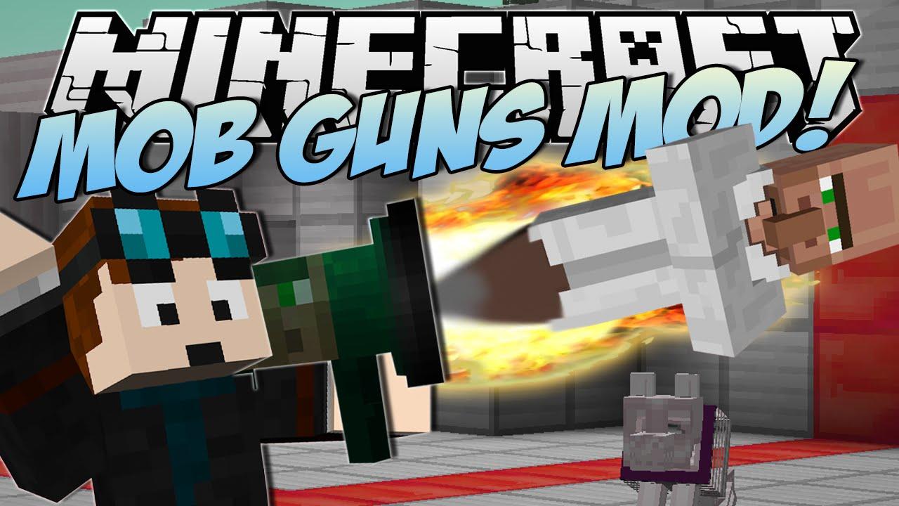 Minecraft  MOB GUNS MOD! (DanTDM & Trayaurus GUN!)  Mod Showcase