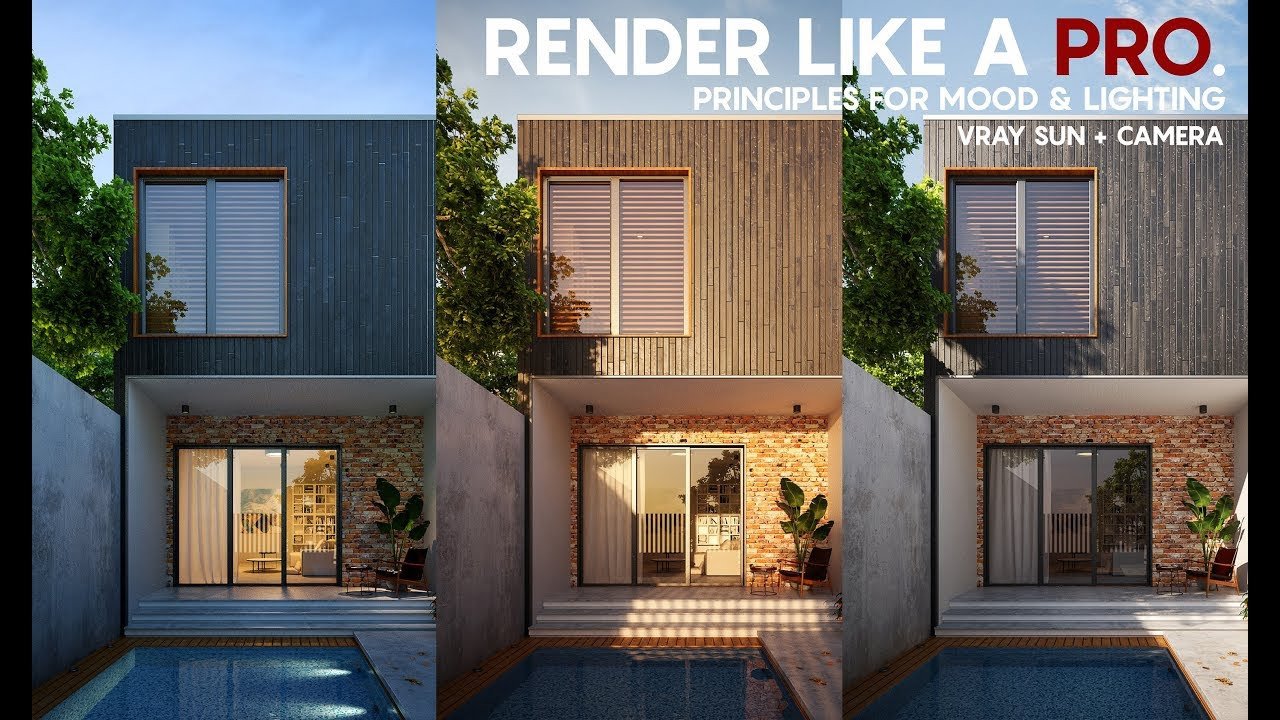 Render Like A Pro Exterior Rendering Tutorial Vray Sun Camera Tricks For Lighting And