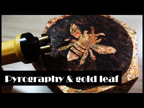 SIMPLE WOODEN BOX DECORATING- gold leaf and pyrography