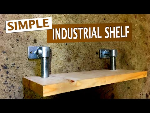 Shelf of industrial piping and wood DIY