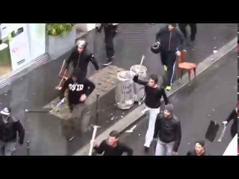 Israeli Vigilantes Attacking Pro Palestinian Protesters in Paris August 2014