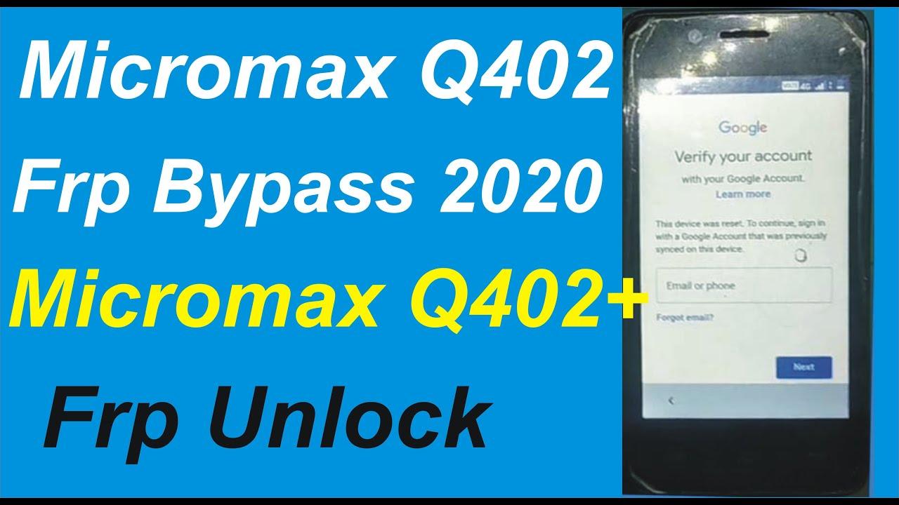 Micromax Q402 Frp Bypass 2020 / Micromax  Q402 Frp Unlock