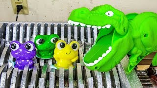 Dinosaur Eats Baby Frogs! Dinosaur Toys Destroyed! What's Inside Squishy Water bath Toys Slime Toys?