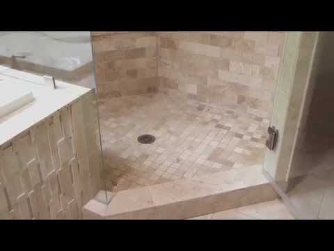 Travertine - Natural Stone Bathroom Remodel