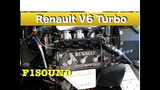 "F1 V6 Turbo sound  ""JPS Lotus Renault  Legends of A.senna  ""Engine warming-up"
