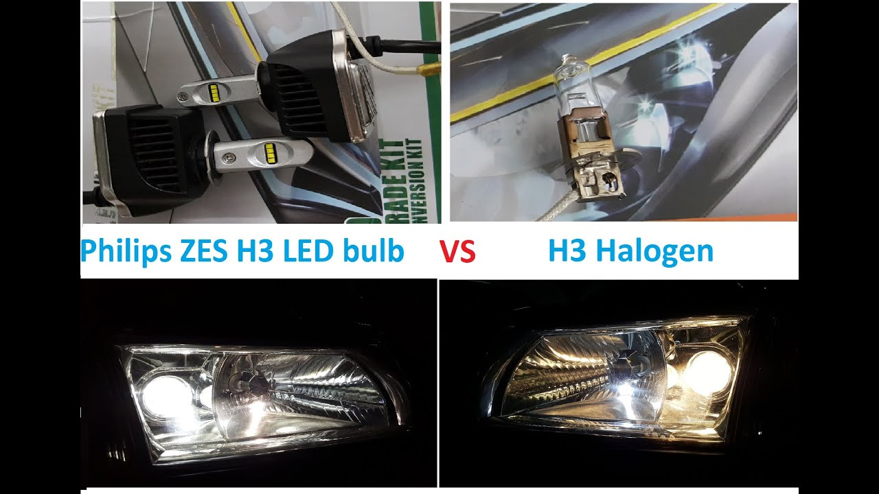 Halogen Light Vs Led >> Philips ZES H3 LED vs H3 Halogen 55 watts comparison - YouTube