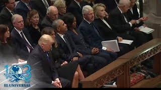 Donald Trump evita saludar a Hillary Clinton en funeral de Bush padre