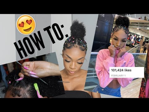 🌈Rainbow Rubber Band Curly Ponytail Tutorial🌈