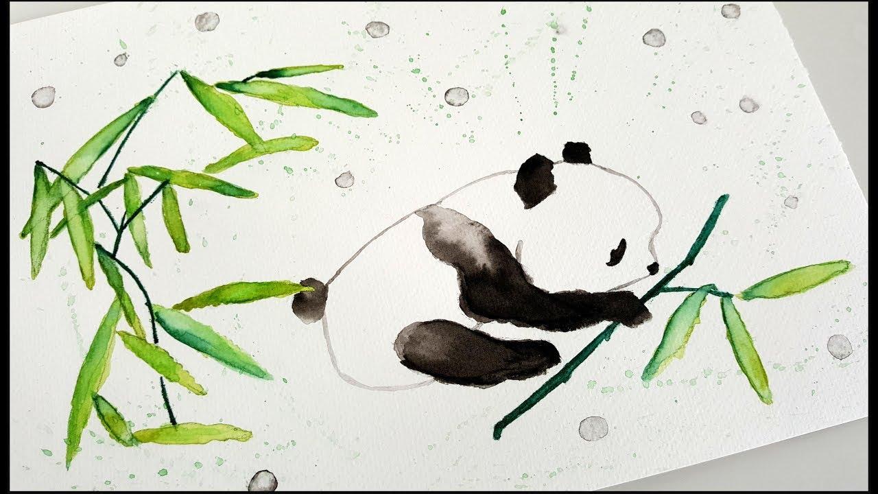 Dessin Aquarelle Petit Panda Ses Bambous