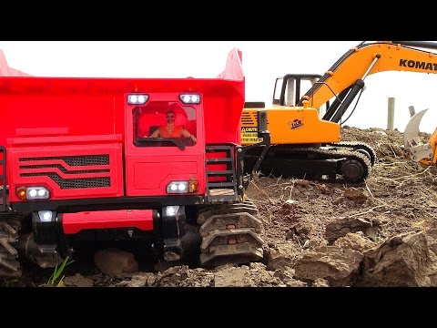 "DiRT RiDGE DEMOLiTiON! 1/12 scale 4200xl DiGGER & Tracked ""Spyker KAT"" Dump Truck 