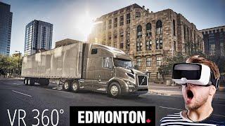 Virtual Reality drive Edmonton. Yellowhead highway. Canada.