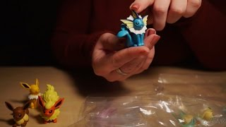 Binaural ASMR/Whisper. Unboxing Eeveelution Pokémon Figures (Crinkles, Ear-to-Ear Whispering)