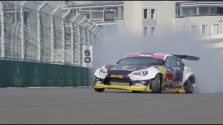 Amazing drifting around F1's longest, fastest turn in 4K