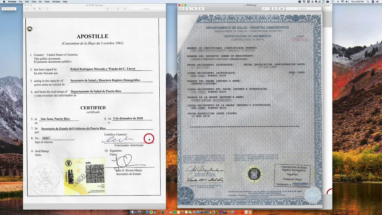 birth puerto certificate rico apostille