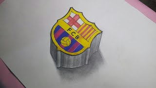 This is 3d drawing of the famous football club barcelona logo hey guys i have no ads revenue . so pls support as you can please check my merch: click l...
