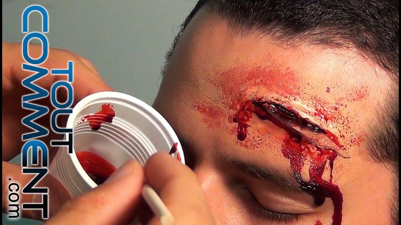 Fausse blessure bout de verre plant dans le cr ne tuto make up youtube - Maquillage halloween cicatrice ...