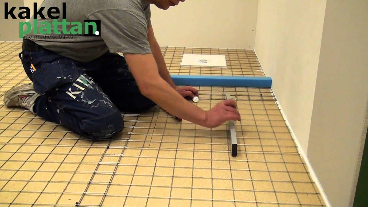 Rätt golvfall till golvbrunnen. Att flytspackla ett badrum. Mer på ...