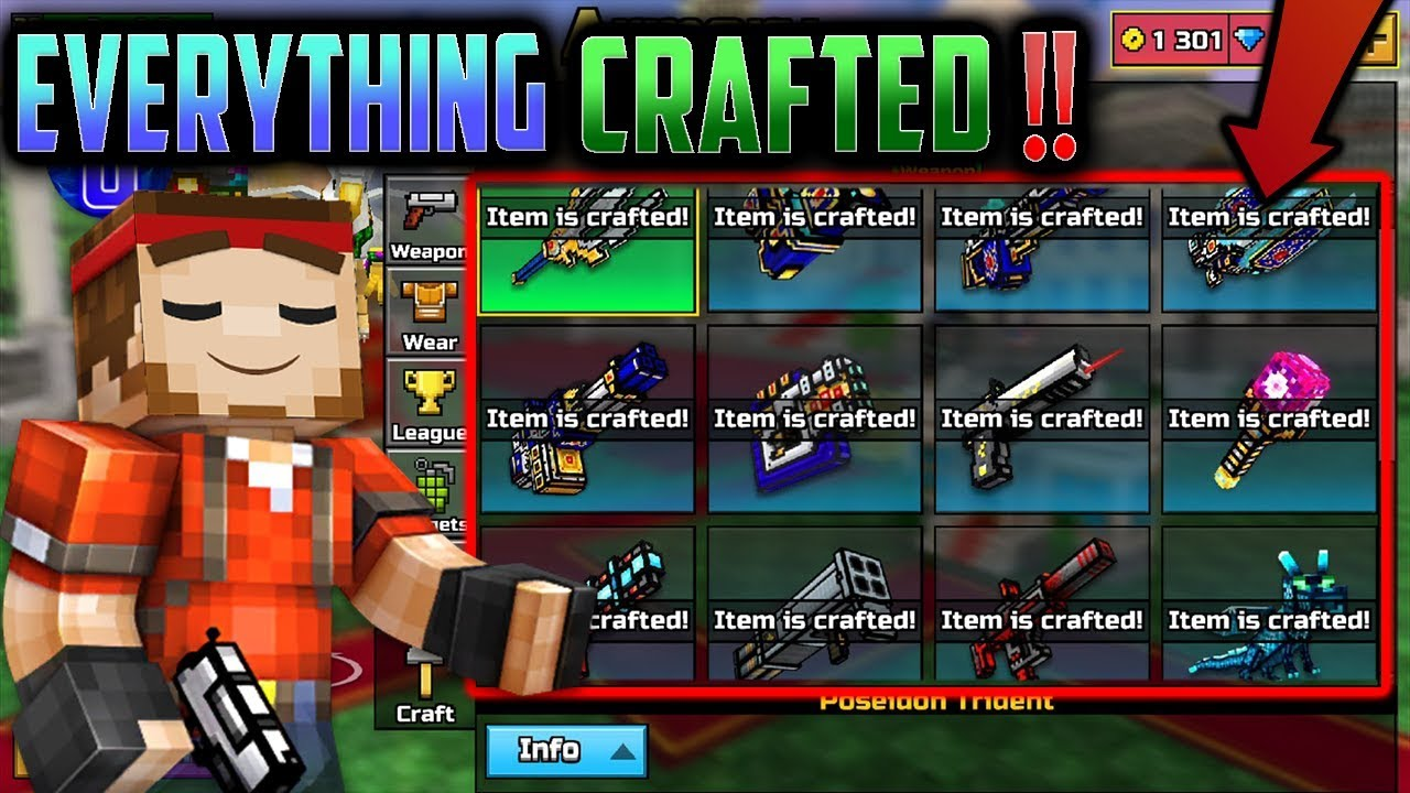 ALL CLAN CRAFTS IN PG3D!! - Pixel Gun 3D All Clan Weapons ...