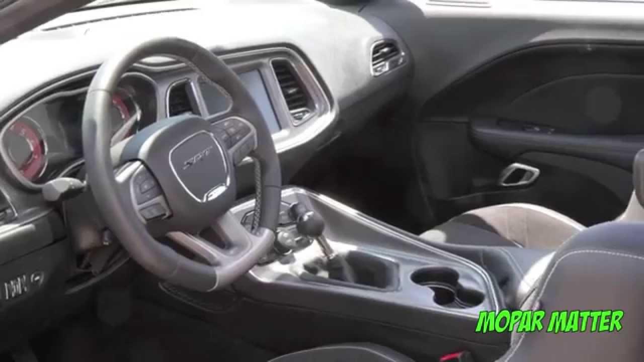 White 2015 Dodge Challenger Srt Hemi Hellcat Pilot Car Interior Youtube