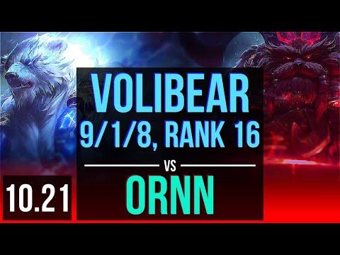 VOLIBEAR vs ORNN (TOP) | Rank 1 Volibear, 9/1/8, Legendary, Rank 16 | NA Challenger | v10.21