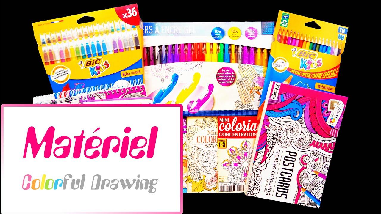 Achats Présentation de matériel Livres de Coloriages Feutres Crayons Marqueurs