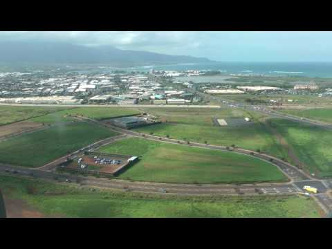 flying over Maui and landing at Kahului, Maui, Hawaii