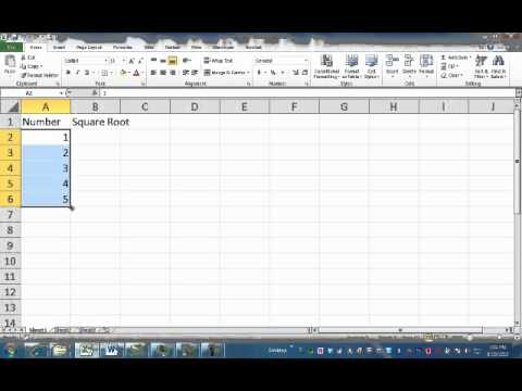 1 4 Square Roots Excel Youtube