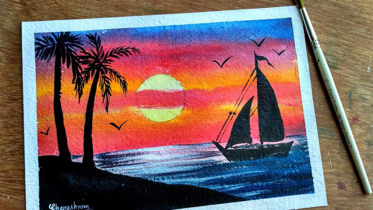 Watercolor Painting SUNSET WITH PALM TREES
