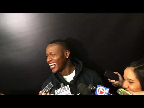 Terry Rozier reacts to Boston Celtics teammate Guerschon Yabusele