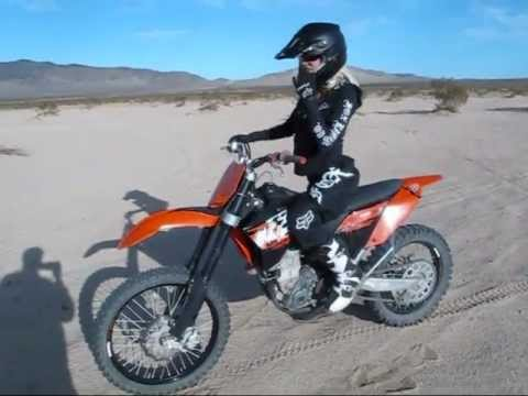 Girl Rides KTM 505 Dirt Bike