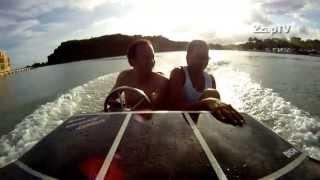 Catamaran hull speed boat test drive