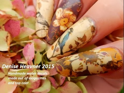 NAIL DECALS  TUTORIAL------HOMEMADE ------- USE----Magazine pictures & Clear Polish