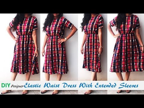 63634ab4f95 DIY Elastic Waist Dress With Extended Sleeves Cutting And Stitching Tutorial