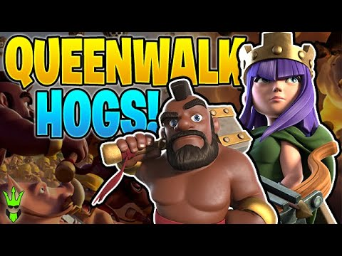 CLEANING UP  THE LOOT WITH QUEEN WALK HOGS! - Clash Of Clans