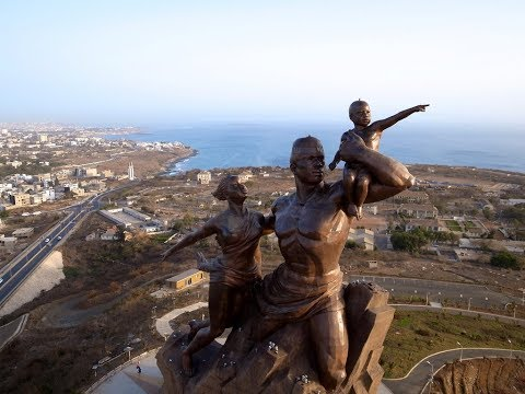 Dakar in Senegal, statue,  major regional port and a major city in Western Africa