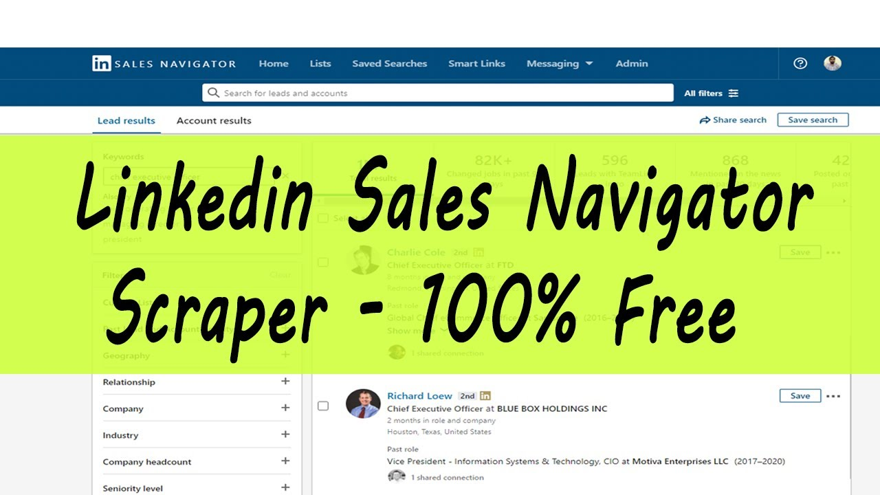 LinkedIn Sales Navigator Scraper 100% Free and Safe