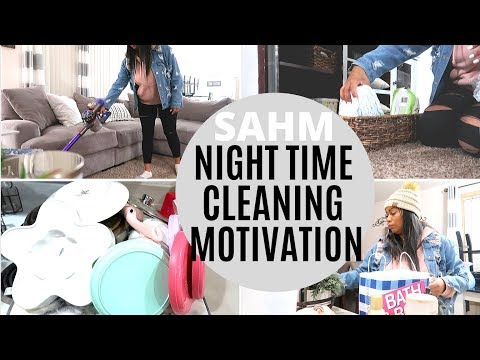 NIGHT TIME CLEANING ROUTINE OF A STAY AT HOME MOM OF 3 KIDS | SAHM POWER HOUR 2019 | CRISSY MARIE