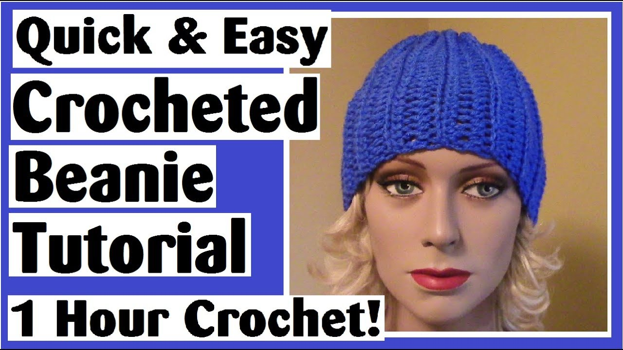 307bdabc521 Quick   Easy Crocheted Beanie Hat Tutorial - 1 Hour Crochet Project ...