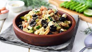 Салат с креветками и творожным сыром видео рецепт