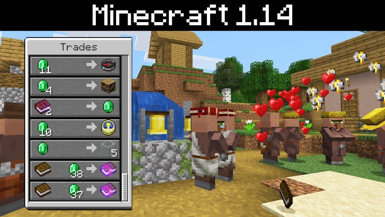 Minecraft 1 14 - Villager Changes - Jobs, Schedules, Gossip, Trading,  Rewards