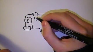 Lær at tegne EN SJOV GRIS | HVORDANTEGNERJEG.DK