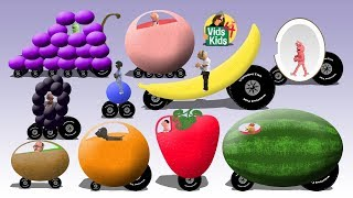 Fruit Cars - Learn Fruits With Words And Vehicles For Children
