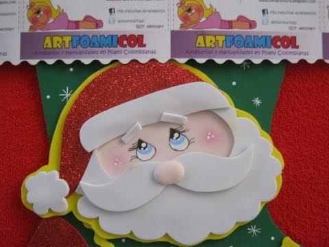 Como hacer papa noel o santa claus con moldes para bota navideÑa ...