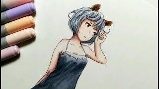 【コピック】猫耳の女の子描いてみた