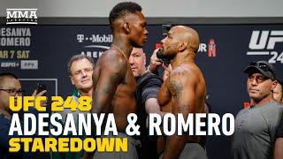 Israel Adesanya vs. Yoel Romero UFC 248 Weigh-In Staredown - MMA Fighting
