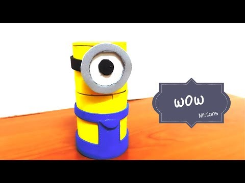DIY CRAFT\\MINIONS BOX from cardboard tube..