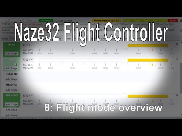 (8/8) Naze32 Flight Controller - Introduction to flight modes (angle, horizon, baro mag etc)