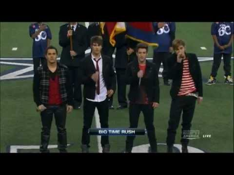 Big time rush sing the United States National Anthem